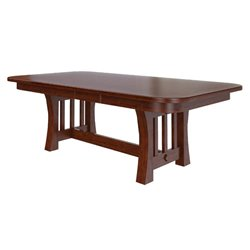 Double Pedestal 6 Foot Rectangle Curved Mission Dining Table