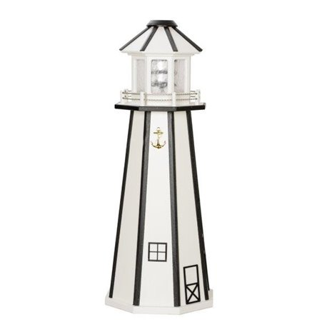 White with Black Trim Wood Lighthouse in 3ft / 4ft / 5ft