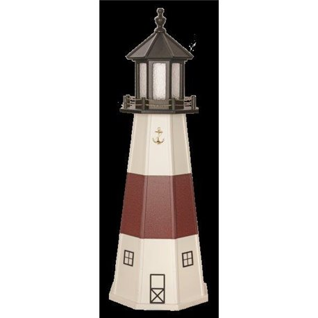 White with Burgundy Wood Lighthouse in 3ft / 4ft / 5ft - Montauk, NY Replica