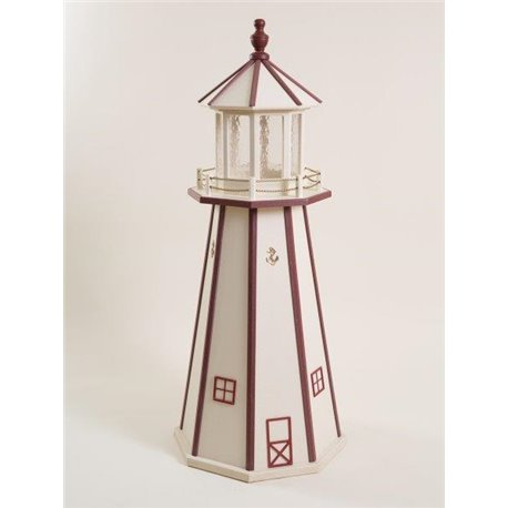 Beige with Red Trim Wood Lighthouse in 3ft / 4ft / 5ft