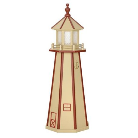 Beige with Red Wood Lighthouse in 3ft / 4ft / 5ft