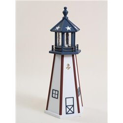 Red, White, & Blue Wood Lighthouse in 3ft / 4ft / 5ft - American