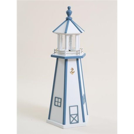 White with Blue Trim Wood Lighthouse in 3ft / 4ft / 5ft