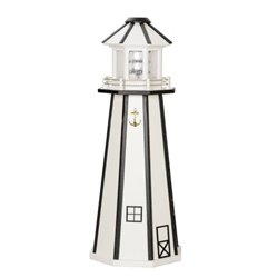 White with Black Poly Lumber Lighthouse in 3ft / 4ft / 5ft