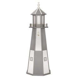 White with Gray Checkered Poly Lumber Lighthouse in 3ft / 4ft / 5ft