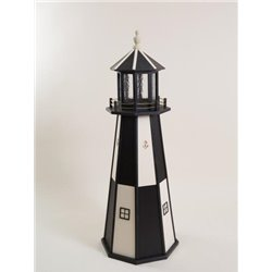 Black and Beige Checkered Poly Lumber Lighthouse in 3ft / 4ft / 5ft