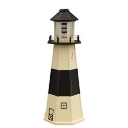 Beige with Black Wood Lighthouse in 3ft / 4ft / 5ft - Absecon New Jersey Replica
