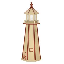 Beige with Red Poly Lumber Lighthouse in 3ft / 4ft / 5ft