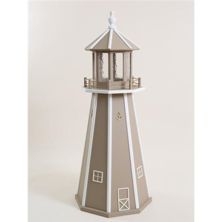 Clay with White Poly Lumber Lighthouse in 3ft / 4ft / 5ft