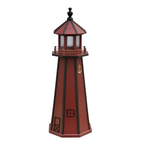 Red with Black Poly Lumber Lighthouse in 3ft / 4ft / 5ft