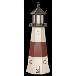 White with Red Poly Lumber Lighthouse in 3ft / 4ft / 5ft - Montauk, NY