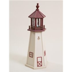 White with Burgundy Poly Lumber Lighthouse in 3ft / 4ft / 5ft - Cape May, NJ Replica