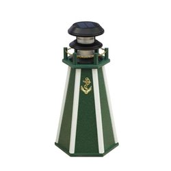"Solar Accent 18"" Lighthouse in Poly Lumber - Green & White"