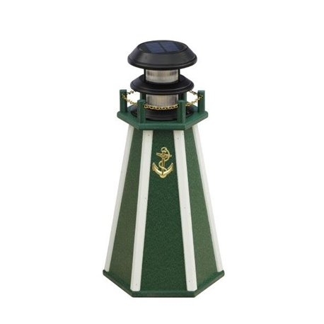 """Solar Accent 18"""" Lighthouse in Poly Lumber - Green & White"""