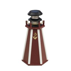 "Solar Accent 18"" Lighthouse in Poly Lumber - Red & White"