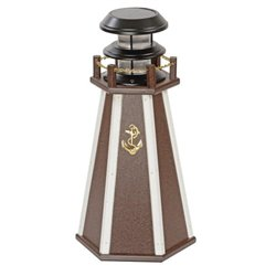 "Solar Accent 18"" Lighthouse in Poly Lumber - Brown & White"