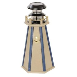 "Solar Accent 18"" Lighthouse in Poly Lumber - Clay & Blue"