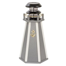 "Solar Accent 18"" Lighthouse in Poly Lumber - Gray & White"