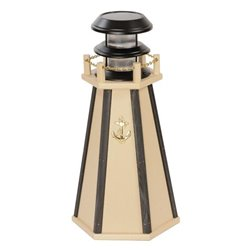 "Solar Accent 18"" Lighthouse in Poly Lumber - Ivory & Black"