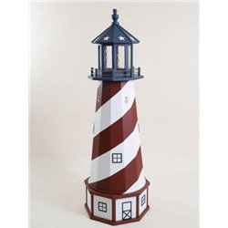 Deluxe Wood Lighthouse with Poly Top and Base - American - Red, White, & Blue