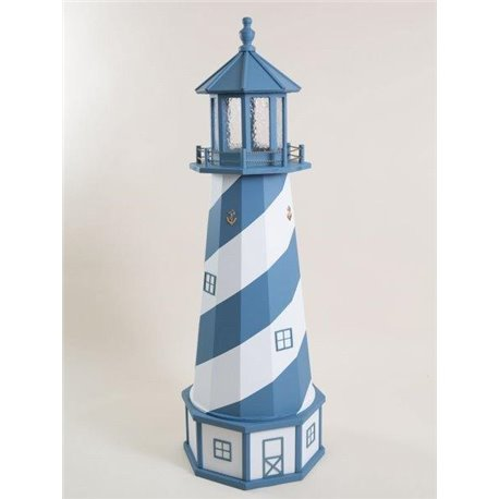 Deluxe Wood Lighthouse with Poly Top and Base - Blue & White