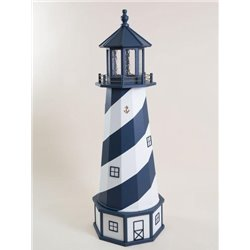 Deluxe Wood Lighthouse with Poly Top and Base - Navy Blue & White