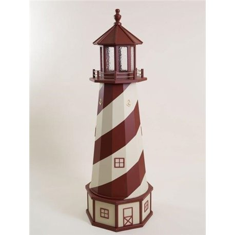 Deluxe Wood Lighthouse with Poly Top and Base - Red & Beige