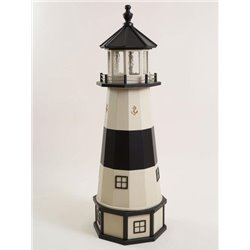Deluxe Wood Lighthouse with Poly Top and Base - Absecon NJ Replica (Beige &  Black)