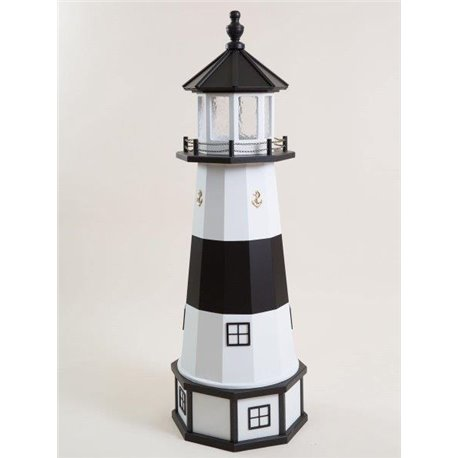 Deluxe Wood Lighthouse with Poly Top and Base - Absecon NJ Replica (White &  Black)