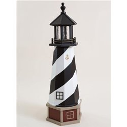 Deluxe Wood Lighthouse with Poly Top and Base - Cape Hatteras, NC Replica (Black & White)