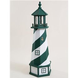 Deluxe Wood Lighthouse with Poly Top and Base - Green & White
