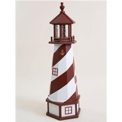 Deluxe Wood Lighthouse with Poly Top and Base - Red & White