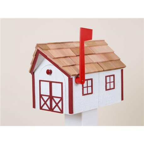 Outdoor Wood Mailbox with Cedar Shingles in White with Red Trim