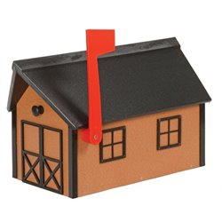 Outdoor Poly Lumber Mailbox in Cedar color with Black Trim