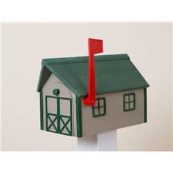Outdoor Poly Lumber Mailbox in Clay with Green Trim