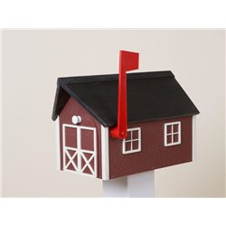 Outdoor Poly Lumber Mailbox in Red with White Trim