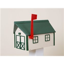 Outdoor Poly Lumber Mailbox in White with Green Trim