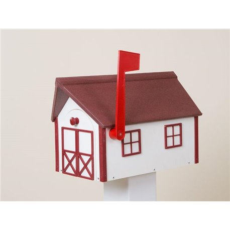 Outdoor Poly Lumber Mailbox in White with Red Trim