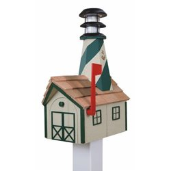 Outdoor Wood Solar Lighthouse Mailbox with Cedar Shingles - Beige with Green Trim