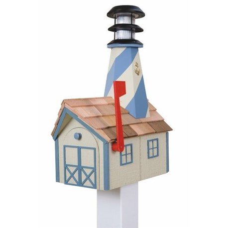 Outdoor Wood Solar Lighthouse Mailbox with Cedar Shingles - Beige with Blue Trim