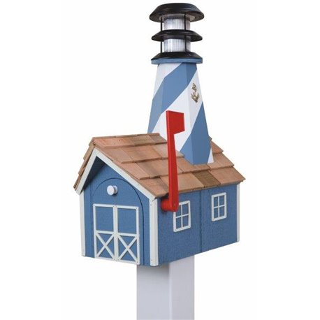 Outdoor Wood Solar Lighthouse Mailbox with Cedar Shingles - Blue with White Trim
