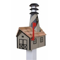 Outdoor Wood Solar Lighthouse Mailbox with Cedar Shingles - Clay with Black Trim