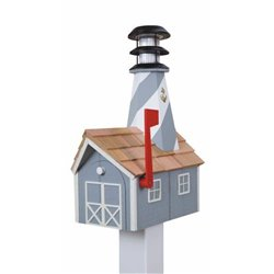 Outdoor Wood Solar Lighthouse Mailbox with Cedar Shingles - Gray with White Trim
