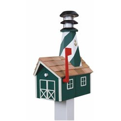 Outdoor Wood Solar Lighthouse Mailbox with Cedar Shingles -Green with White Trim