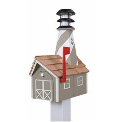 Outdoor Wood Solar Lighthouse Mailbox with Cedar Shingles - Clay with White Trim