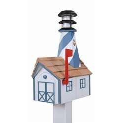 Outdoor Wood Solar Lighthouse Mailbox with Cedar Shingles - White with Blue Trim