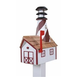 Outdoor Wood Solar Lighthouse Mailbox with Cedar Shingles - White with Red Trim