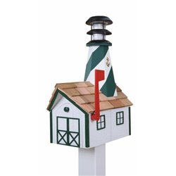 Outdoor Wood Solar Lighthouse Mailbox with Cedar Shingles - White with Green Trim