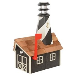 Outdoor Wood Solar Lighthouse Mailbox with Cedar Shingles - Blak with White Trim