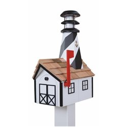 Outdoor Wood Solar Lighthouse Mailbox with Cedar Shingles - White with Black Trim